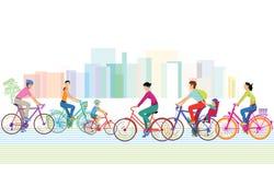 En grupp av cyklister Royaltyfri Bild