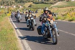En grupp av cyklister som rider Harley Davidson Fotografering för Bildbyråer