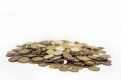 En grupp av euro myntar pengar Royaltyfria Bilder