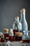 En grupp av flaskor med den hem- gjorda vaniljextrakten Royaltyfri Foto
