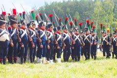 En grupp av franska (Napoleonic) soldater-reenactors Arkivfoto