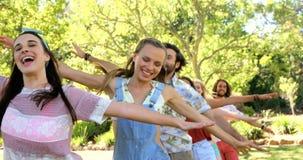 En grupp av hipstervänner som dansar och har gyckel stock video