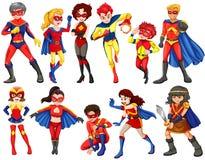 En grupp av hjältar vektor illustrationer