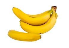 En grupp av isolerade bananer Arkivfoto