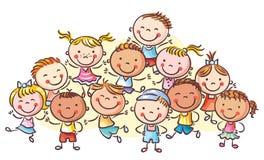 En grupp av lyckliga ungar, inga lutningar royaltyfri illustrationer
