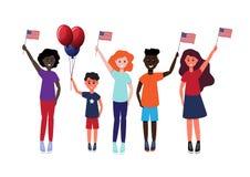 En grupp av lyckligt folk av olika nationaliteter med flaggor i deras handvektorillustration vektor illustrationer