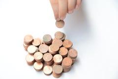 En grupp av mynt Fotografering för Bildbyråer