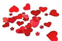 En grupp av röda hjärtor. Fotografering för Bildbyråer