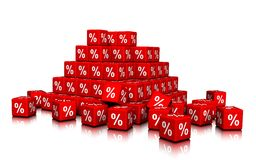 En grupp av röda kuber med procentsymboler Royaltyfri Fotografi