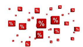 En grupp av röda kuber med procentsymboler lager videofilmer