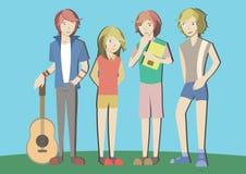 En grupp av tonåringen Royaltyfria Foton