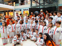 En grupp av unga astronaut Arkivbild