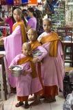 Burmese nunnor - Bogyoke marknadsföra - Yangon - Myanmar Arkivbilder