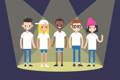 En grupp av unga pojkar och flickor som föreställer olika nationer s vektor illustrationer