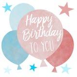 En grupp av utdragna pastellfärgade kulöra ballonger för hand med hälsning för lycklig födelsedag royaltyfri illustrationer
