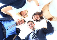 En grupp människor i en cirkel på vit Royaltyfri Bild