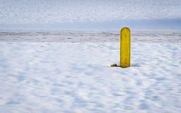 En gul pol i snön under vinter Fotografering för Bildbyråer