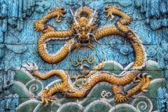 En gul skräckinjagande drake på niona Dragon Wall Arkivfoton