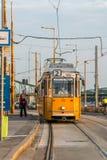 En gul spårvagn som att närma sig ett spårvagnstopp i den Budapest Ungern för att välja upp passagerare Arkivfoton