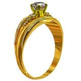 En guld- cirkel för koppling med smyckenädelstenen Royaltyfria Foton