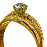 En guld- cirkel för koppling med smyckenädelstenen Fotografering för Bildbyråer