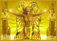 En guld- egyptisk tempel stock illustrationer