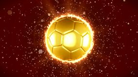 En guld- fotboll som rotera lager videofilmer