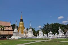 En guld- pagod står ut från fältet av vita pagoder Arkivbild