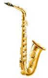 En guld- saxofon royaltyfri illustrationer