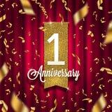 En guld- skylt för årsårsdag i strålkastare på röd gardinbakgrund och guld- konfettier stock illustrationer