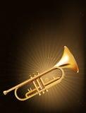 En guld- trumpet royaltyfri illustrationer