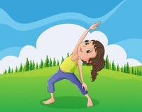 En gullig liten flicka som övar på bergstoppet royaltyfri illustrationer