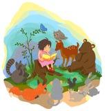En gullig liten flicka undervisar magi till djur in Arkivfoton