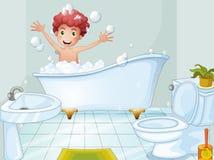 En gullig pojke som tar ett bad stock illustrationer
