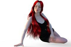 En gullig ung flicka med långt rött hår sitter och flörtar Royaltyfri Bild