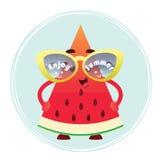En gullig vattenmelonskiva i exponeringsglas tycker om sommar Stock Illustrationer
