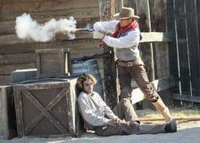 En Gunfight på gamla Tucson, Tucson, Arizona Royaltyfri Fotografi