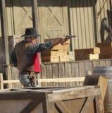 En Gunfight på gamla Tucson, Tucson, Arizona Royaltyfri Foto