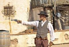 En Gunfight på gamla Tucson, Tucson, Arizona Arkivfoton