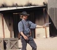 En Gunfight på gamla Tucson, Tucson, Arizona Royaltyfria Bilder