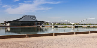 En häger och Tempe Center för konsterna Arkivbild