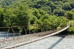 En hängande bro Fotografering för Bildbyråer