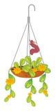 En hängande växt med en larv Arkivfoton