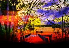 En härlig afton, fred och lugn vektor illustrationer