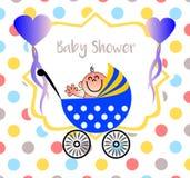 En härlig baby showerillustration med en prickbakgrund vektor illustrationer