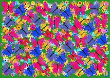 En härlig bakgrund med färgrika fjärilar Arkivbild