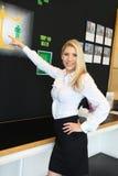 En härlig blond affärskvinna som pekar en bild Arkivbilder