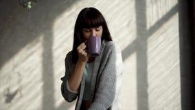 En härlig dam sitter vid fönstret och dricker en varm drink från ett exponeringsglas lager videofilmer