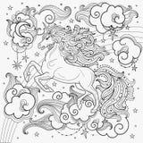 En härlig enhörning bland molnen svart white royaltyfri illustrationer