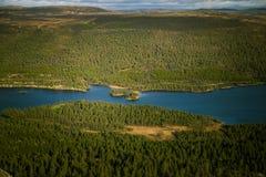 En härlig flyg- sikt av en höstskog med sjön i Norge Sörja träd från över Royaltyfri Bild